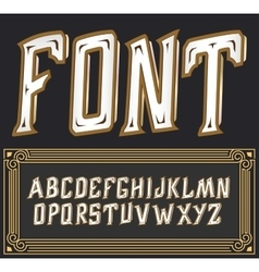 Label font with art deco ornament Tower vector