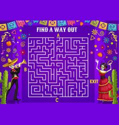 Labyrinth maze with dia de los muertos characters vector