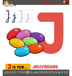Letter j worksheet with cartoon jellybeans vector