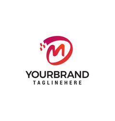 letter m digital logo design concept template vector image