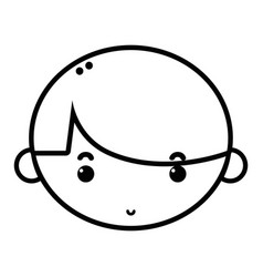 Line child boy face with hairstyle design vector