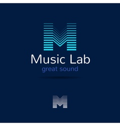 M letter music logo template Creative equalizer vector