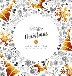 Merry Christmas and New Year gold frame decoration vector