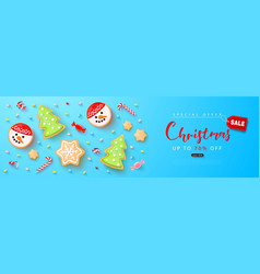 merry christmas sale banner holiday background vector image