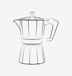 Moka pot outline traditional italian coffee maker vector