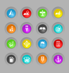Navigation colored plastic round buttons icon set vector