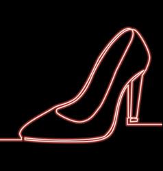 one line high heel shoe glowing neon concept vector image