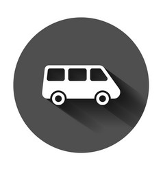 passenger minivan sign icon in flat style car bus vector image