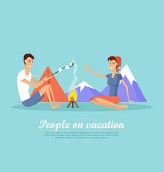 people on vacation flat design web banner vector image