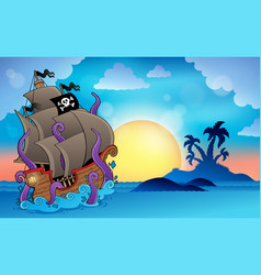 Pirate ship near small island 2 vector