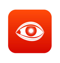 Plastic surgery eye icon digital red vector