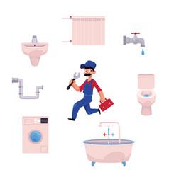 Plumber man plumbing tools vector