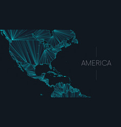 Polygonal map american continent vector