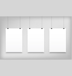 poster mockups white hanging paper canvas vector image