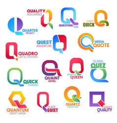 Q letter corporate identity business icons vector