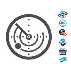 Radar flat icon with free bonus elements vector