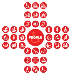 Red disability and people Icon collection vector image vector image
