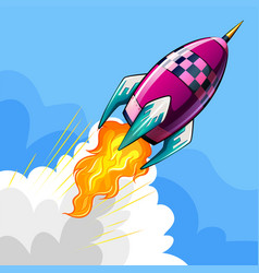 Rocket flying in sky vector