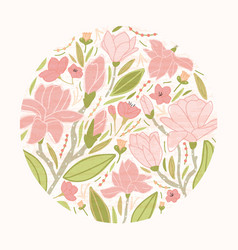 Round floral backdrop or circular decorative vector