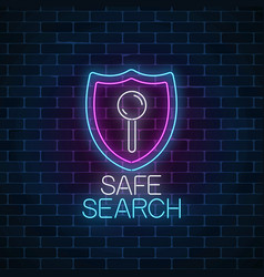 safe web search service glowing neon sign vector image