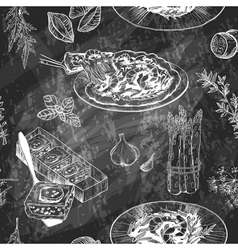 Seamless Menu pattern with Italian meal Blackboard vector image