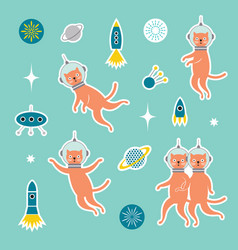 set od stickers with cats spacemen vector image