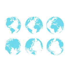 set of dotted style globe and map vector image