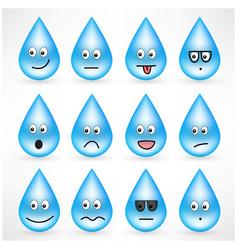 set of drops with smiley emoticon faces vector image