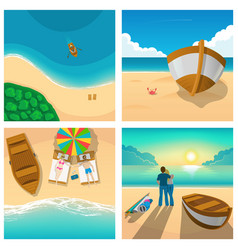 set of four pictures with couple relaxing on sunny vector image