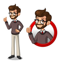 set of hipster businessman inside the circle logo vector image