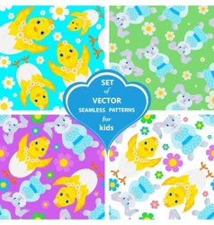 Set of patterns with rabbits flowers and vector image