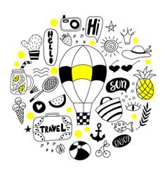 set summer doodle vector image