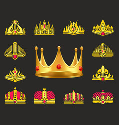 shiny luxurious crowns of gold with gemstones set vector image