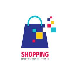 shopping bag logo design element digital online vector image