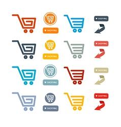 Shopping cart basket web symbols icons set vector
