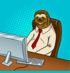 Sloth animal office worker pop art vector