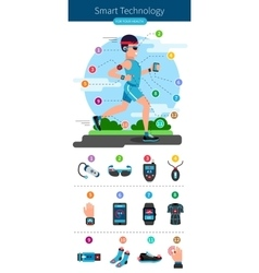 Smart Technology Line Infographic vector