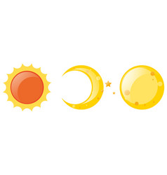 Sun and moon on white background vector