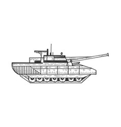 tank sketch engraving vector image