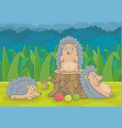 three hedgehogs vector image