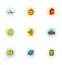 Transportation icons set pop-art style vector image