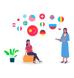 travel agent woman standing with laptop in the vector image