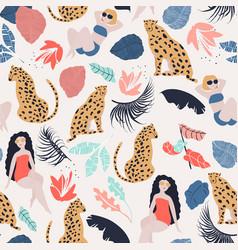 Tropical girl seamless pattern vector