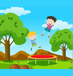 Two boys bouncing on trampoline in the park vector