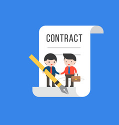 Two tiny businessman make a deal contract vector