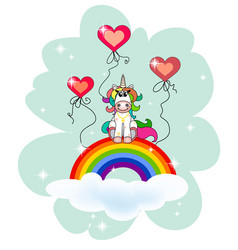Unicorn sits on a cloud with a rainbow in an abstr vector