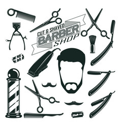 Vintage barbershop elements collection vector