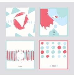 White abstract square cards hand drawn with brush vector