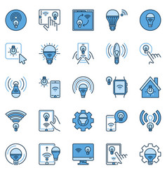 wifi light bulb colored icons set smart vector image