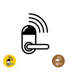 Wireless door lock icon smart home door symbol vector